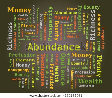 Word Cloud - Abundance in Green Letters on Dark Background - stock vector