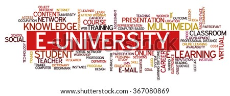 Word cloud concept containing words related to distance learning, distance education and e-learning, e-university, e-student, webinar and online learning and education - stock vector