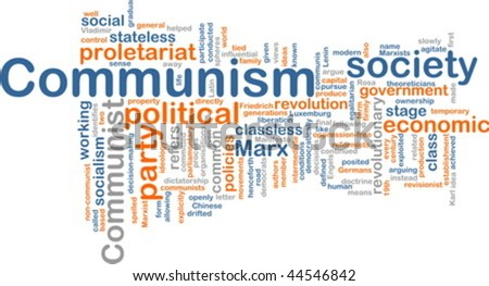 Word cloud concept illustration of comunism economy