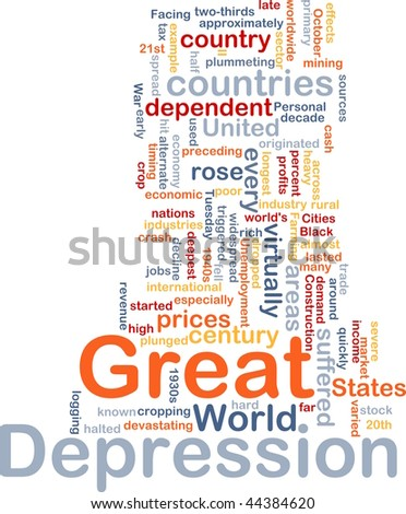 Word cloud concept illustration of Great Depression - stock vector