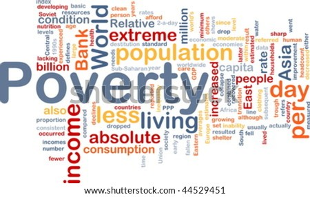 Word cloud concept illustration of income poverty - stock vector