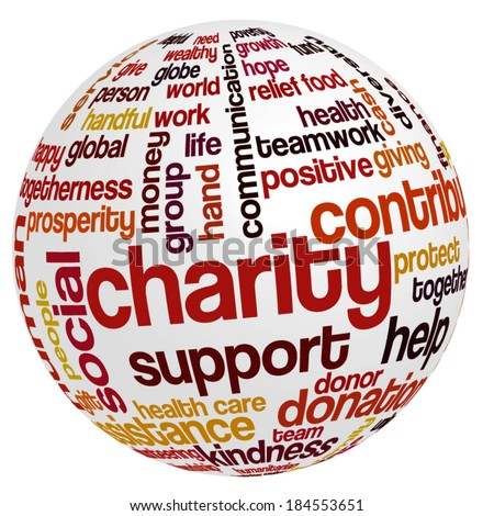 Word cloud containing words related to charity, assistance, health care, kindness, human features, positivity, volunteering, donations, help and similar in the shape of the sphere - stock vector