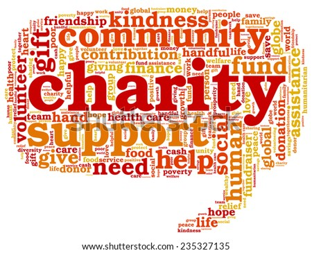 Word cloud containing words related to charity, assistance, health care, kindness, human features, positivity, volunteering, donations, help and similar in the shape of the callout - stock vector
