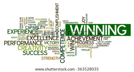 Word cloud containing words related to success, accomplishment, winning, achievement, experience, creativity, triumph, victory, performance, excellence, competence and other business related words. - stock vector