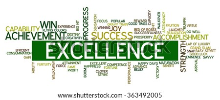 Word cloud containing words related to success, accomplishment, winning, achievement, strength, creativity, triumph, victory, performance, excellence, fortune and other business related words. - stock vector