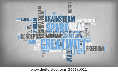 Word Cloud - Creativity and Inspiration. word cloud about the creative process, grey, blue, white on Textured Background with Vignetting  - stock vector