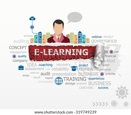 Word Cloud E-Learning and business man. E-Learning design illustration concepts for business, consulting, finance, management, career. - stock vector