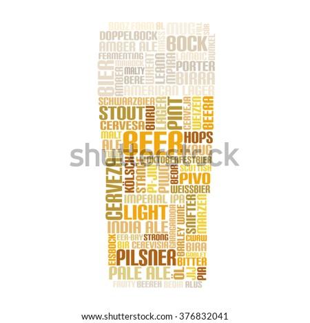 Word Cloud glass of Beer - stock vector
