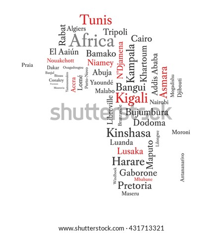 Word cloud in a shape of continent contains all African capitals. Conceptual African map in black and red font isolated on white. Vector illustration. - stock vector