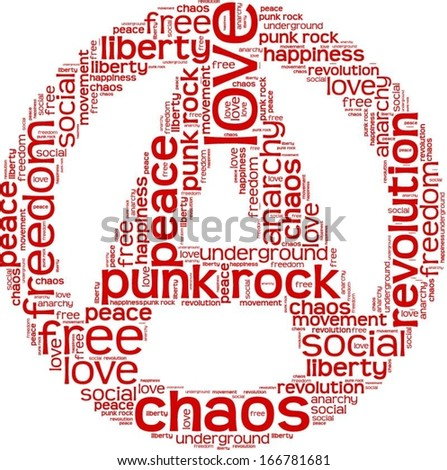 Word cloud in anarchy shape - stock vector