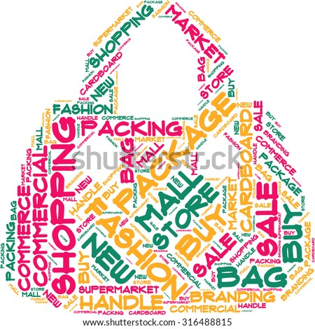 Word cloud in the form of an abstract bag