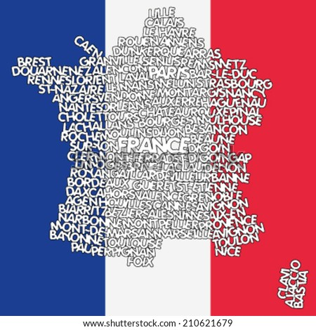 word cloud map of France - stock vector