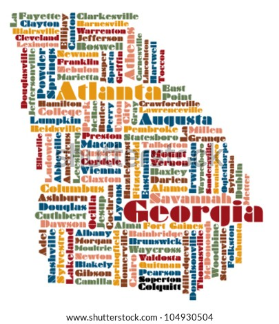 Word Cloud Map Georgia State Usa Stock Vector Shutterstock - Georgia state usa map