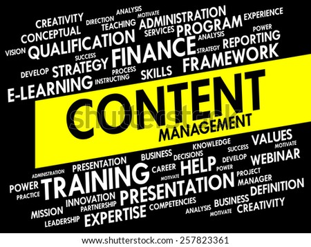 Word cloud of Content Management related items, business concept - stock vector