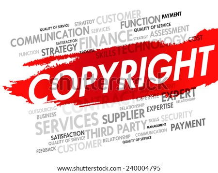 Word cloud of COPYRIGHT related items, presentation background - stock vector