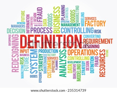 Word cloud of DEFINITION related items, vector presentation background - stock vector