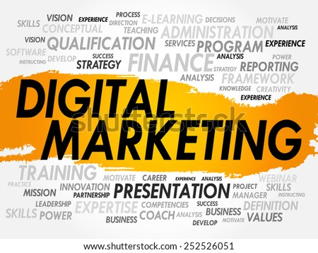 Word cloud of Digital Marketing related items, business concept - stock vector