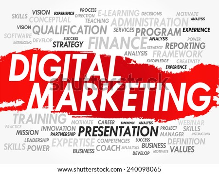 Word cloud of Digital Marketing related items, vector background - stock vector