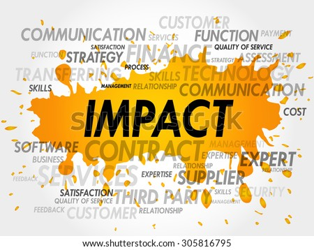 Word cloud of IMPACT related items - stock vector