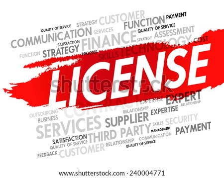 Word cloud of LICENSE related items, presentation background - stock vector