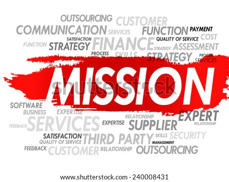 Word cloud of MISSION related items, presentation background - stock vector