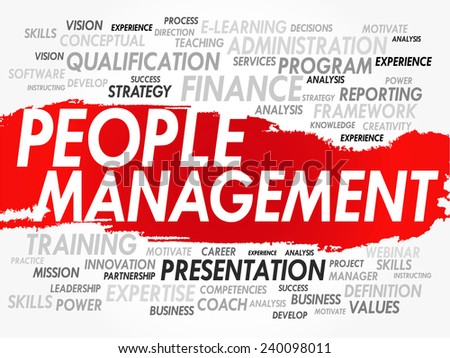 Word cloud of People Management related items, vector background - stock vector