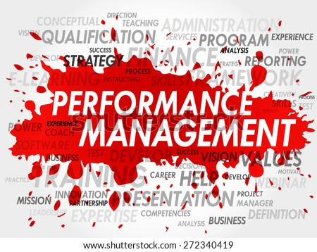 Word cloud of Performance Management related items - stock vector