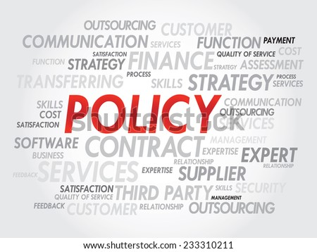 Word cloud of POLICY related items, presentation background - stock vector