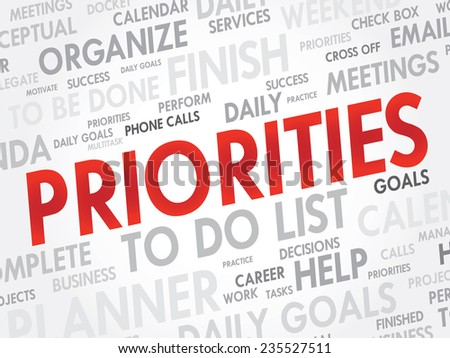 Word cloud of PRIORITIES related items, vector presentation background - stock vector