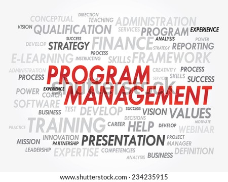 Word cloud of Program Management related items, vector presentation background - stock vector