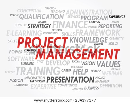 Word cloud of Project Management related items, presentation vector background - stock vector