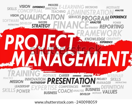 Word cloud of Project Management related items, vector background - stock vector