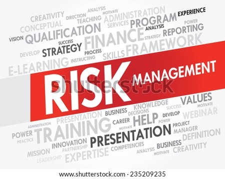 Word cloud of RISK Management related items, vector presentation background - stock vector