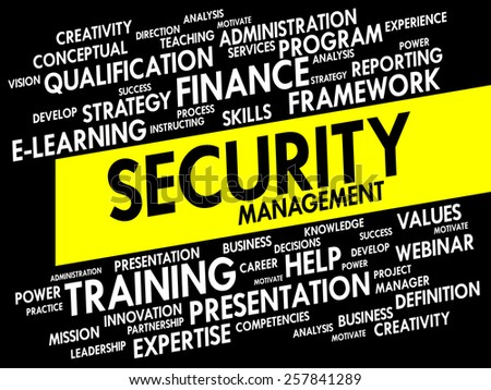 Word cloud of Security Management related items, business concept - stock vector