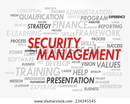 Word cloud of Security Management related items, vector presentation background - stock vector