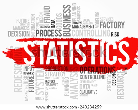 Word cloud of STATISTICS related items, vector background - stock vector
