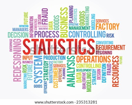 Word cloud of STATISTICS related items, vector presentation background - stock vector