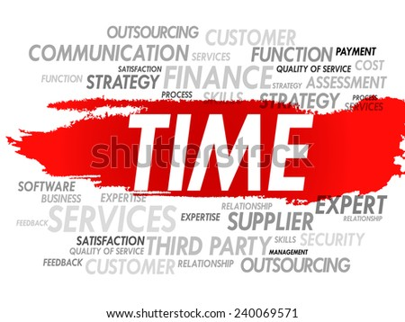 Word cloud of TIME related items, presentation background - stock vector