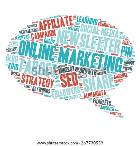 Word Cloud - Online Marketing - stock vector