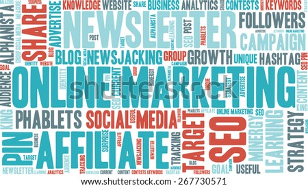 Word Cloud - Online Marketing.  - stock vector