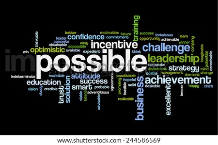 Word cloud related to motivation, possibility and ability, illustrating concept of impossible vs. possible in business or other areas of work - stock vector