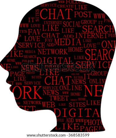Word cloud, tag cloud text business concept. Head silhouette with the words on the topic of social networking. Word collage. vector illustration - stock vector