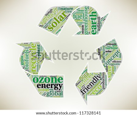 Word cloud, tag cloud text business concept. Recycle silhouette sign with the words on the topic of recycling, friendly, eco, environment. Word collage. Vector illustration. - stock vector