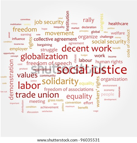 Word cloud with concept of social justice - stock vector