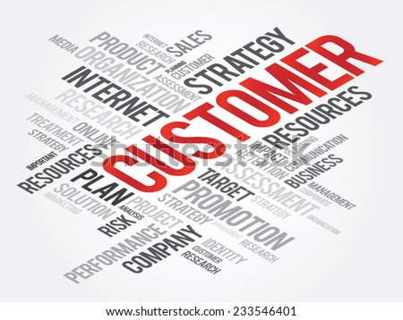 Word Cloud with CUSTOMER related tags, vector business concept - stock vector
