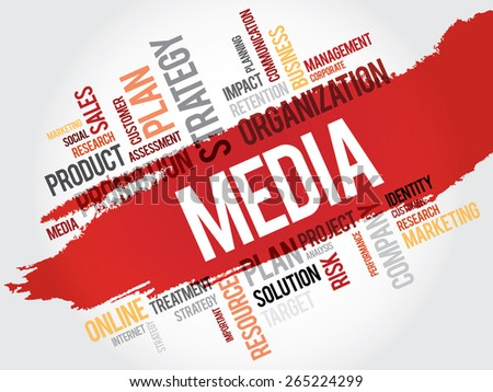 Word Cloud with Media related tags, business concept - stock vector