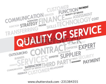 Word Cloud with Quality Service related tags, presentation background - stock vector