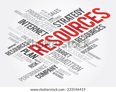 Word Cloud with RESOURCES related tags, vector business concept - stock vector