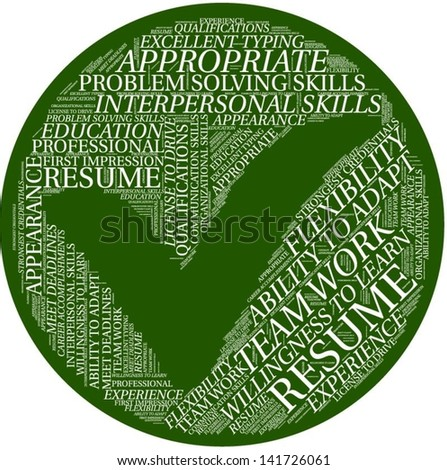 Word cloud with resume terms - stock vector