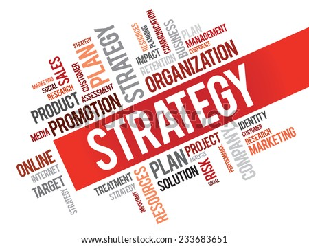Word Cloud with Strategy related tags, vector business concept - stock vector